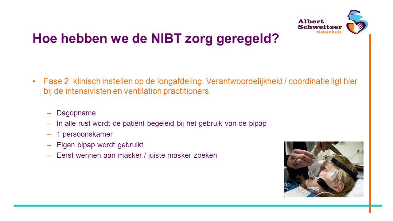 Hoe hebben we de NIBT zorg geregeld? Fase 2: klinisch instellen op de longafdeling. Verantwoordelijkheid / coördinatie ligt hier bij de intensivisten