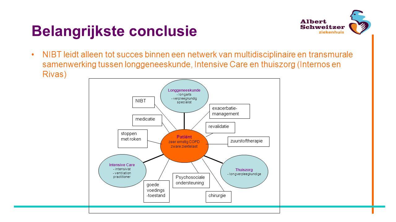 Belangrijkste conclusie NIBT leidt alleen tot succes binnen een netwerk van multidisciplinaire en transmurale samenwerking tussen longgeneeskunde, Int