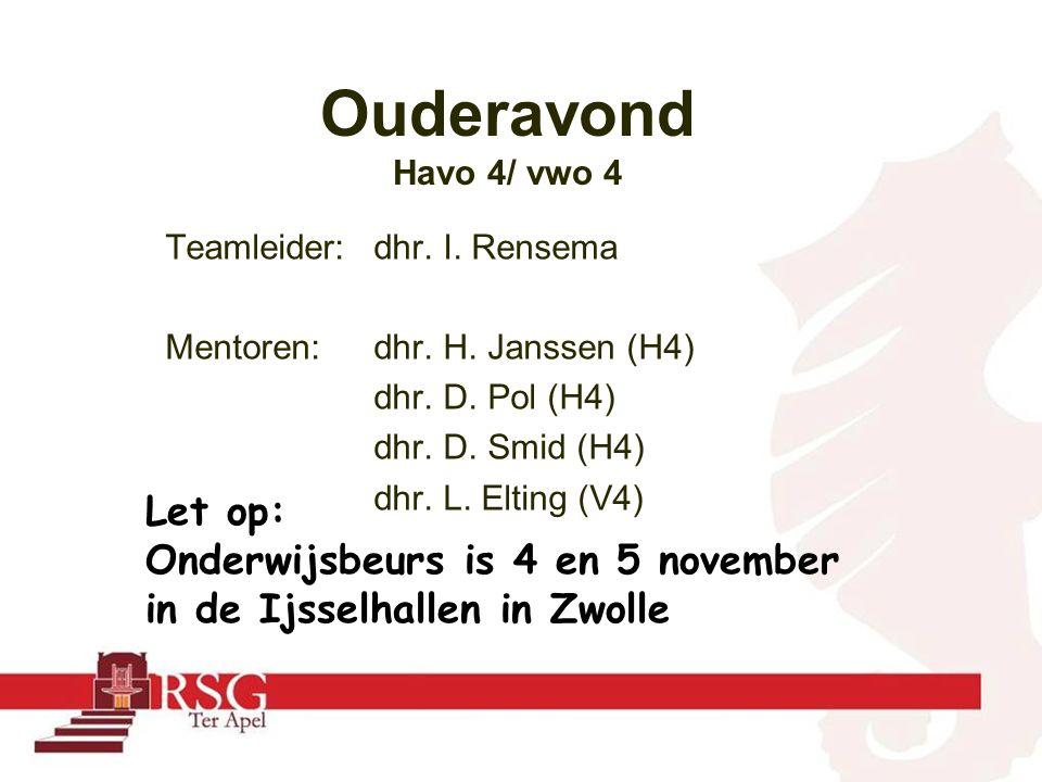 Teamleider:dhr. I. Rensema Mentoren: dhr. H. Janssen (H4) dhr.