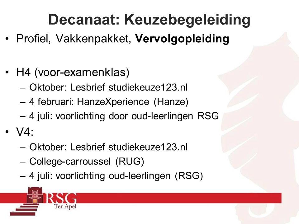 Decanaat: Keuzebegeleiding Profiel, Vakkenpakket, Vervolgopleiding H4 (voor-examenklas) –Oktober: Lesbrief studiekeuze123.nl –4 februari: HanzeXperience (Hanze) –4 juli: voorlichting door oud-leerlingen RSG V4: –Oktober: Lesbrief studiekeuze123.nl –College-carroussel (RUG) –4 juli: voorlichting oud-leerlingen (RSG)
