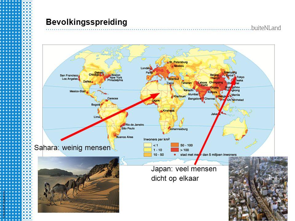 Bevolkingsspreiding Sahara: weinig mensen Japan: veel mensen dicht op elkaar