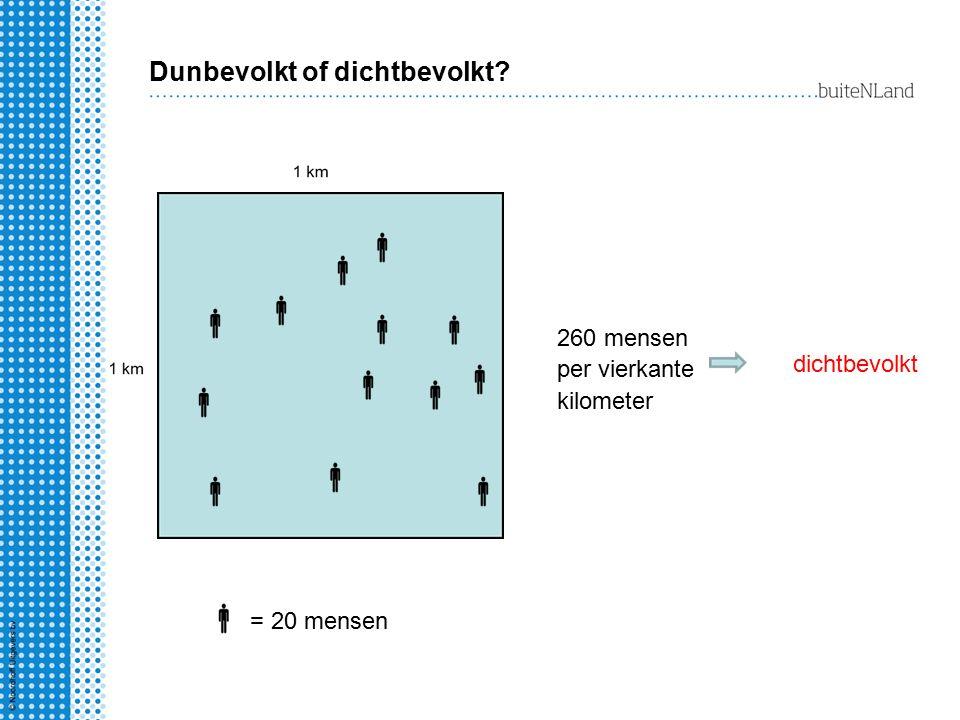 Dunbevolkt of dichtbevolkt? 260 mensen per vierkante kilometer dichtbevolkt = 20 mensen