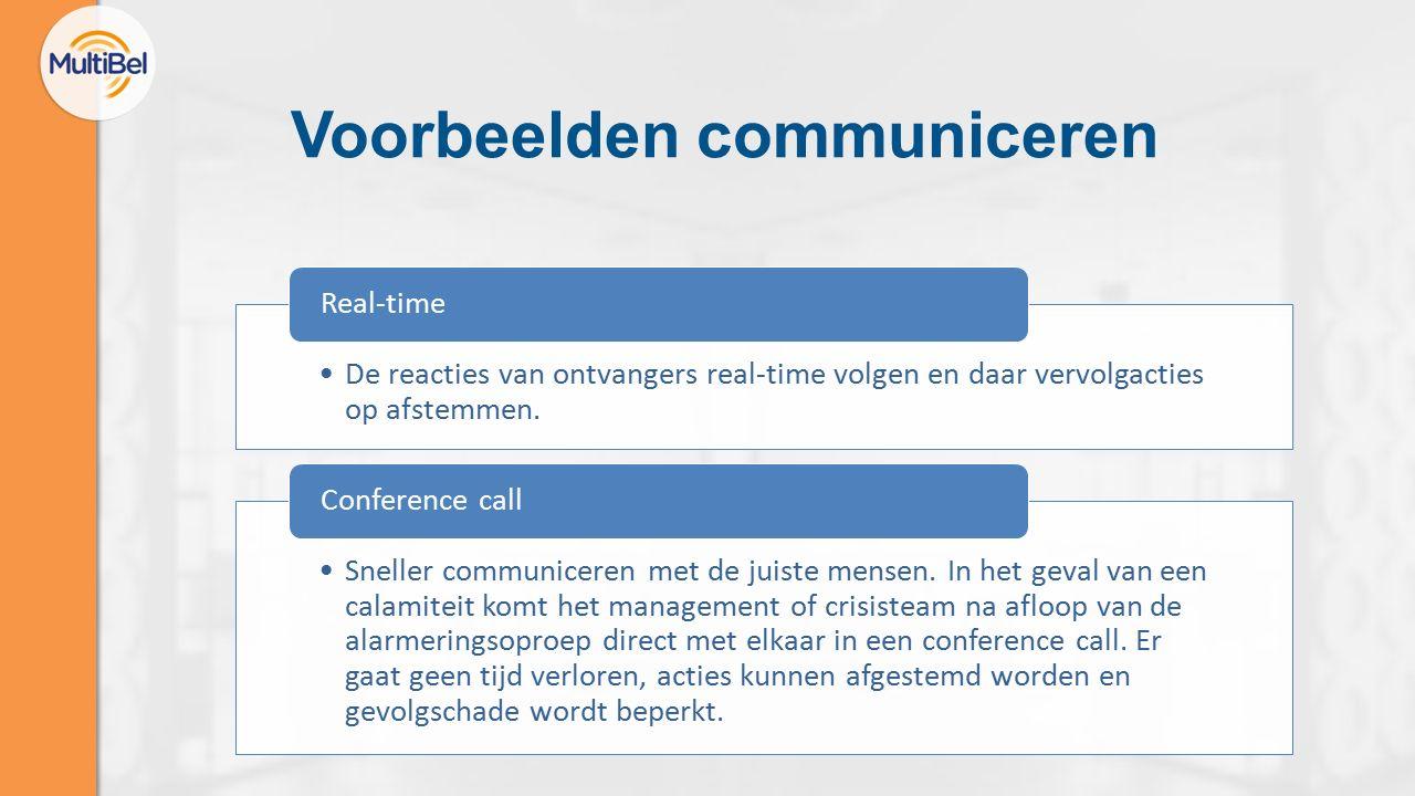 Voorbeelden communiceren De reacties van ontvangers real-time volgen en daar vervolgacties op afstemmen.