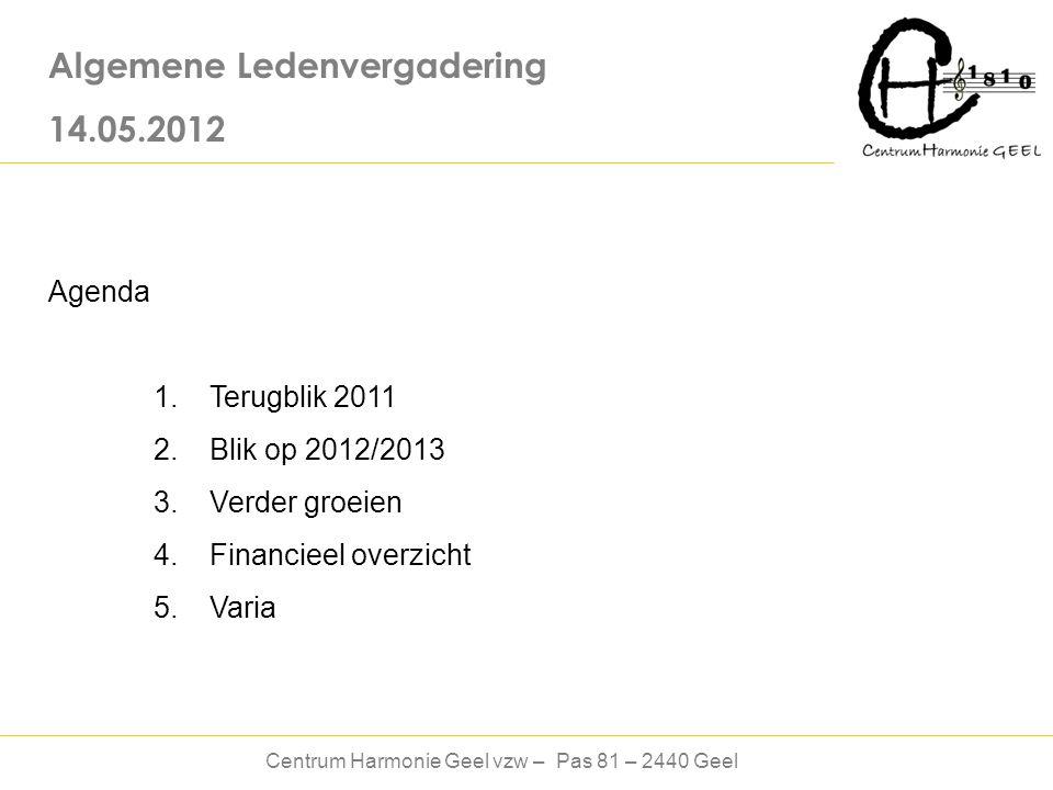 Centrum Harmonie Geel vzw – Pas 81 – 2440 Geel Algemene Ledenvergadering 14.05.2012 Agenda 1.
