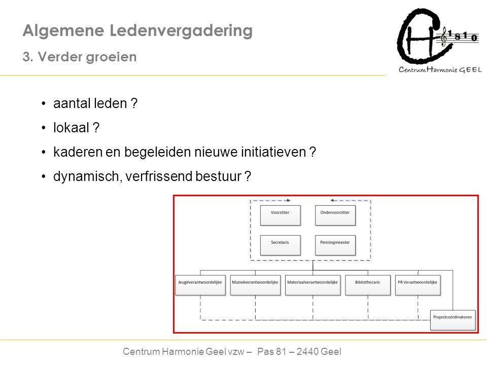 Centrum Harmonie Geel vzw – Pas 81 – 2440 Geel Algemene Ledenvergadering 3.