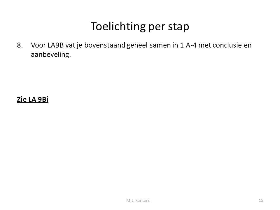 Toelichting per stap 8.Voor LA9B vat je bovenstaand geheel samen in 1 A-4 met conclusie en aanbeveling. Zie LA 9Bi M-J. Kanters15