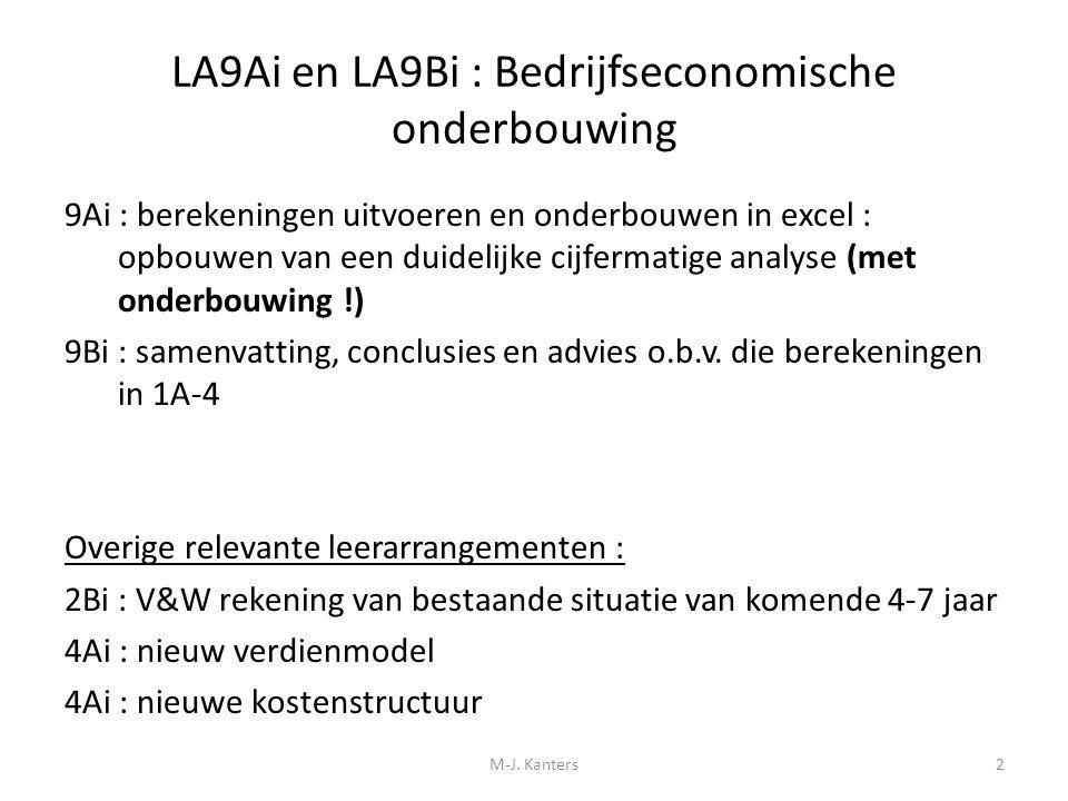 LA9Ai en LA9Bi : Bedrijfseconomische onderbouwing 9Ai : berekeningen uitvoeren en onderbouwen in excel : opbouwen van een duidelijke cijfermatige anal