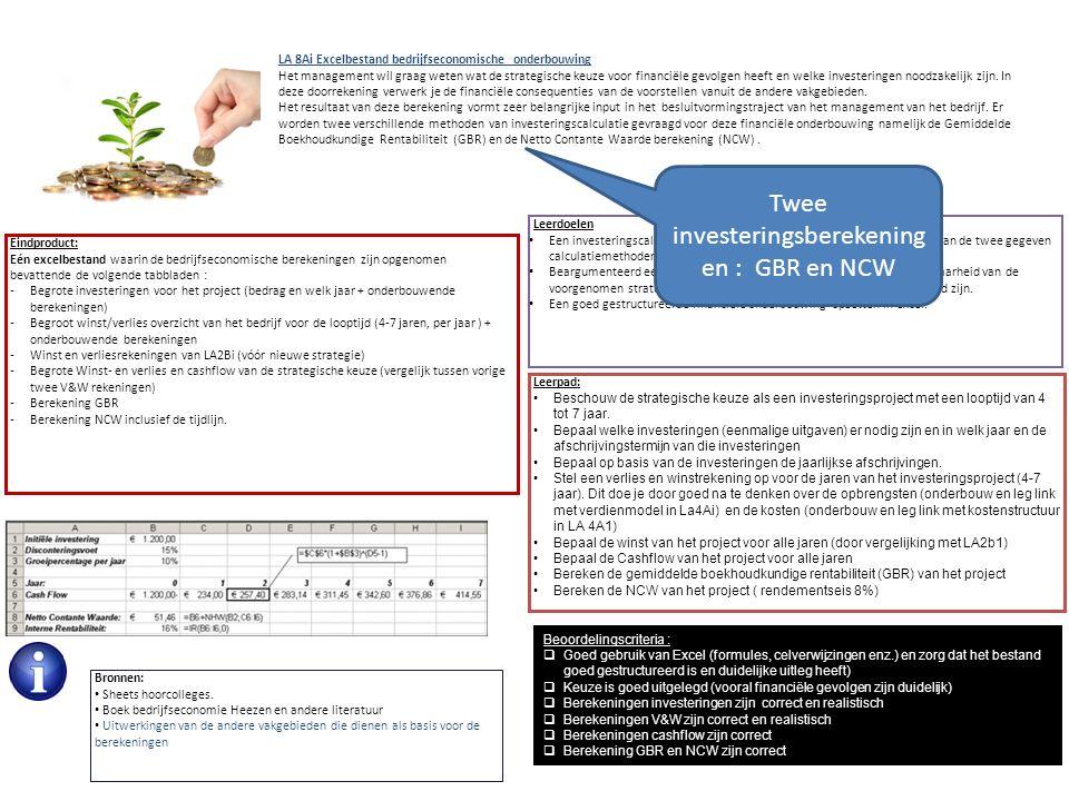 Eindproduct: Eén excelbestand waarin de bedrijfseconomische berekeningen zijn opgenomen bevattende de volgende tabbladen : -Begrote investeringen voor het project (bedrag en welk jaar + onderbouwende berekeningen) -Begroot winst/verlies overzicht van het bedrijf voor de looptijd (4-7 jaren, per jaar ) + onderbouwende berekeningen -Winst en verliesrekeningen van LA2Bi (vóór nieuwe strategie) -Begrote Winst- en verlies en cashflow van de strategische keuze (vergelijk tussen vorige twee V&W rekeningen) -Berekening GBR -Berekening NCW inclusief de tijdlijn.