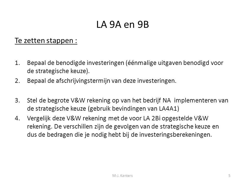 LA 9A en 9B Te zetten stappen : 1.Bepaal de benodigde investeringen (éénmalige uitgaven benodigd voor de strategische keuze). 2.Bepaal de afschrijving