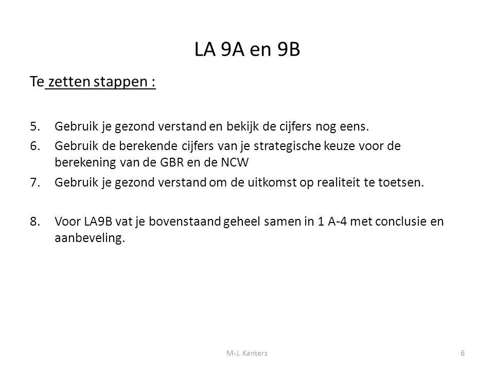 LA 9A en 9B Te zetten stappen : 5.Gebruik je gezond verstand en bekijk de cijfers nog eens. 6.Gebruik de berekende cijfers van je strategische keuze v