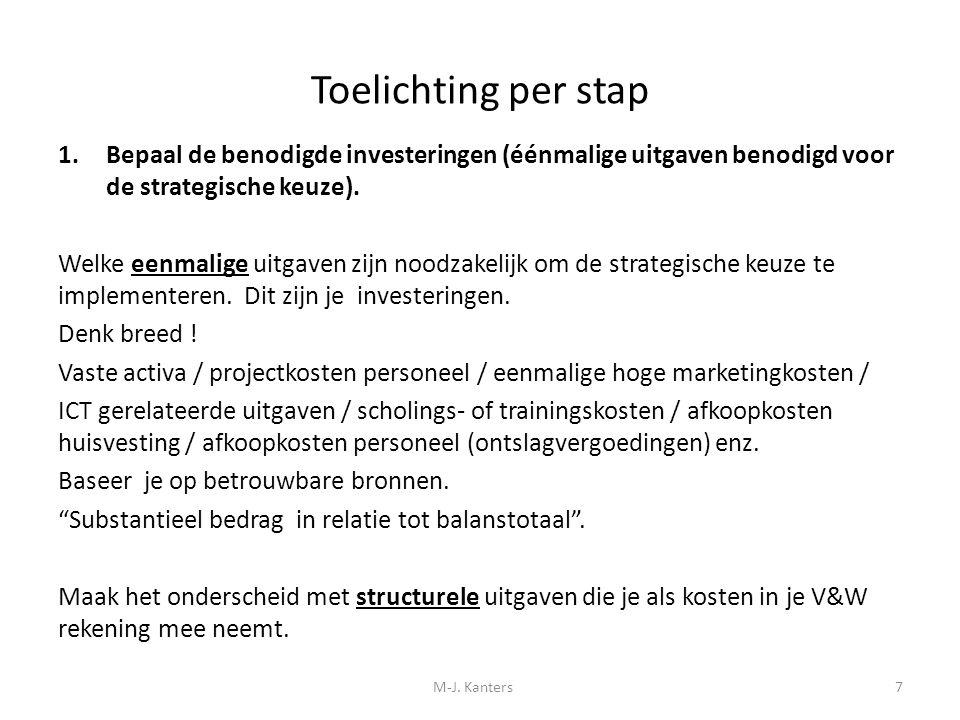 Toelichting per stap 1.Bepaal de benodigde investeringen (éénmalige uitgaven benodigd voor de strategische keuze). Welke eenmalige uitgaven zijn noodz
