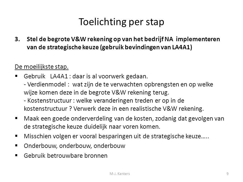 Toelichting per stap 3.Stel de begrote V&W rekening op van het bedrijf NA implementeren van de strategische keuze (gebruik bevindingen van LA4A1) Mogelijk zijn er meer scenario's op te stellen.