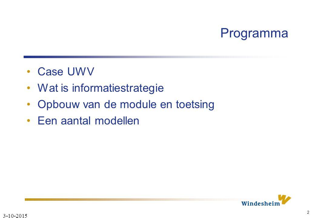 3-10-2015 2 Programma Case UWV Wat is informatiestrategie Opbouw van de module en toetsing Een aantal modellen