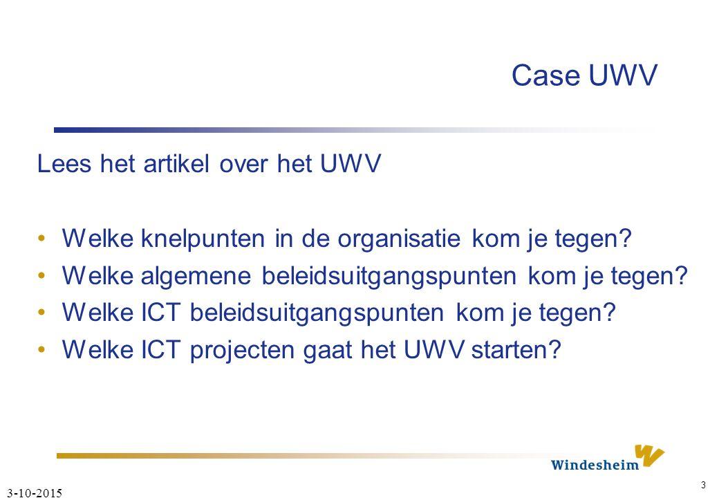 3-10-2015 3 Case UWV Lees het artikel over het UWV Welke knelpunten in de organisatie kom je tegen.