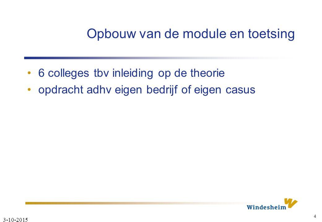 3-10-2015 4 Opbouw van de module en toetsing 6 colleges tbv inleiding op de theorie opdracht adhv eigen bedrijf of eigen casus
