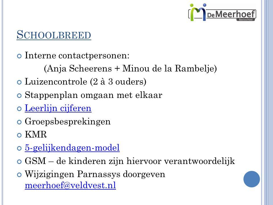 S CHOOLBREED Interne contactpersonen: (Anja Scheerens + Minou de la Rambelje) Luizencontrole (2 à 3 ouders) Stappenplan omgaan met elkaar Leerlijn cijferen Groepsbesprekingen KMR 5-gelijkendagen-model GSM – de kinderen zijn hiervoor verantwoordelijk Wijzigingen Parnassys doorgeven meerhoef@veldvest.nl meerhoef@veldvest.nl