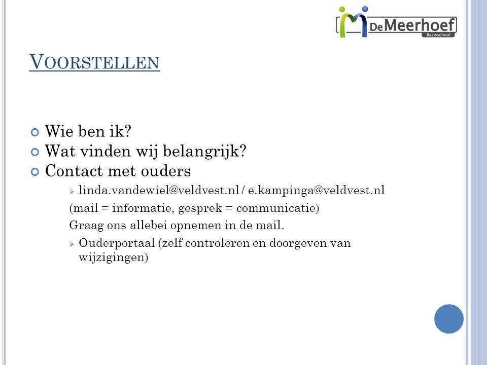 V OORSTELLEN Wie ben ik? Wat vinden wij belangrijk? Contact met ouders  linda.vandewiel@veldvest.nl / e.kampinga@veldvest.nl (mail = informatie, gesp