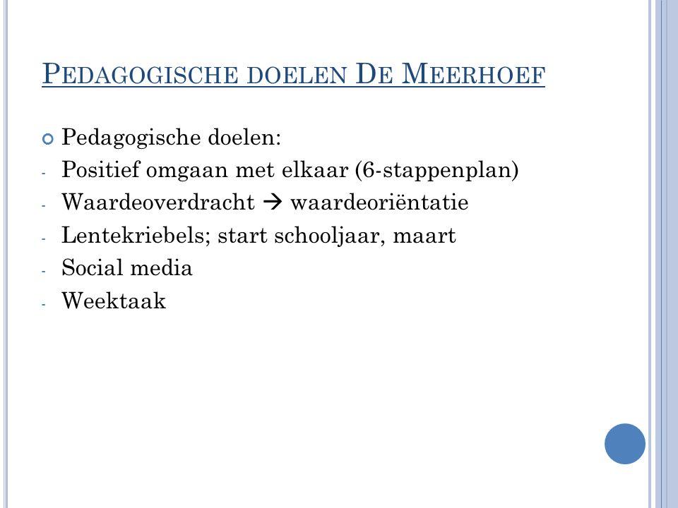 P EDAGOGISCHE DOELEN D E M EERHOEF Pedagogische doelen: - Positief omgaan met elkaar (6-stappenplan) - Waardeoverdracht  waardeoriëntatie - Lentekrie