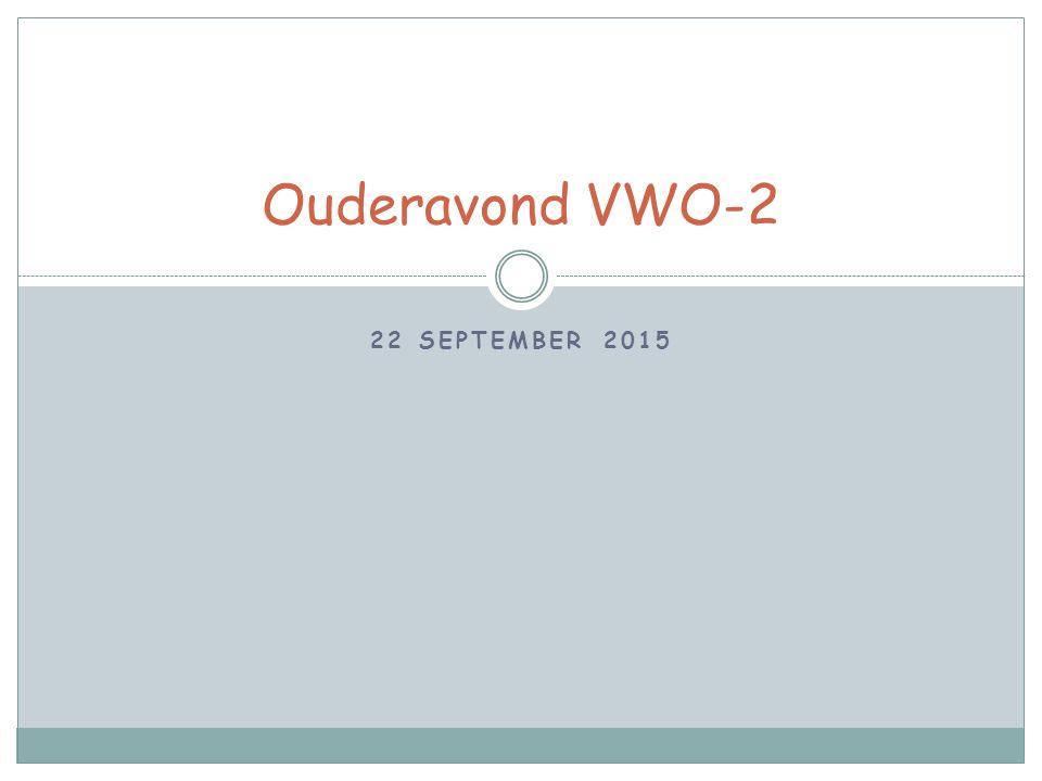 22 SEPTEMBER 2015 Ouderavond VWO-2