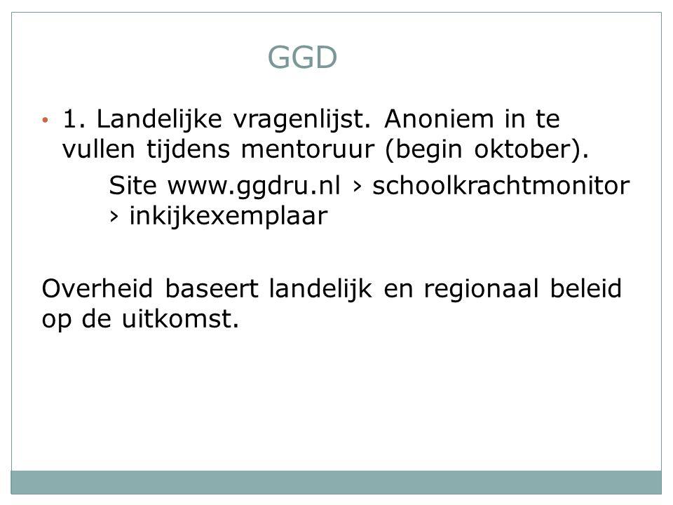 GGD 1. Landelijke vragenlijst. Anoniem in te vullen tijdens mentoruur (begin oktober).