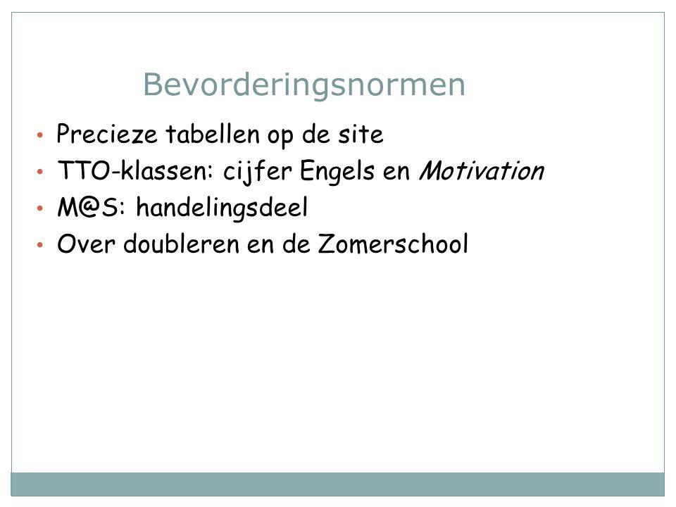 Bevorderingsnormen Precieze tabellen op de site TTO-klassen: cijfer Engels en Motivation M@S: handelingsdeel Over doubleren en de Zomerschool