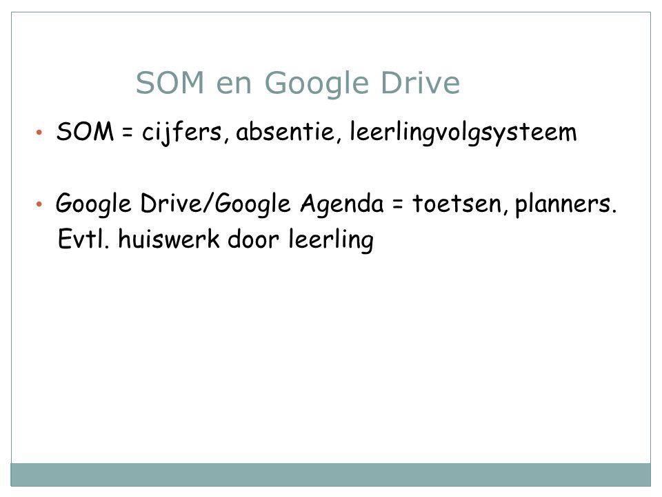 SOM en Google Drive SOM = cijfers, absentie, leerlingvolgsysteem Google Drive/Google Agenda = toetsen, planners. Evtl. huiswerk door leerling