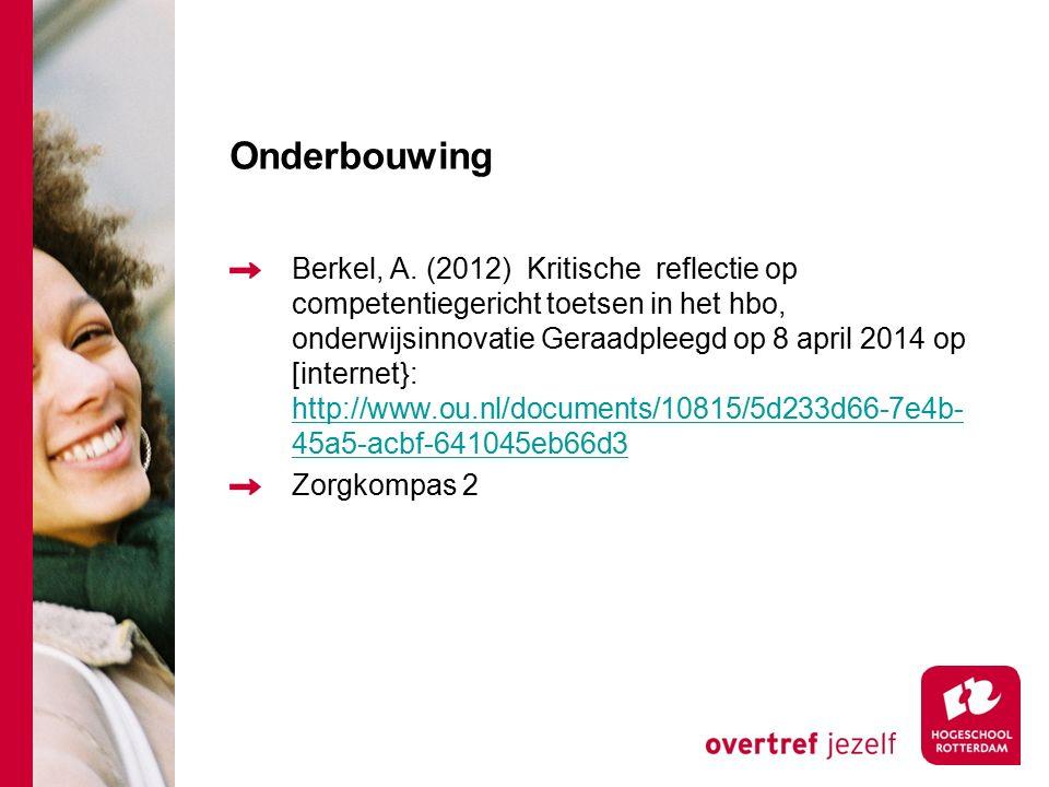 Onderbouwing Berkel, A. (2012) Kritische reflectie op competentiegericht toetsen in het hbo, onderwijsinnovatie Geraadpleegd op 8 april 2014 op [inter