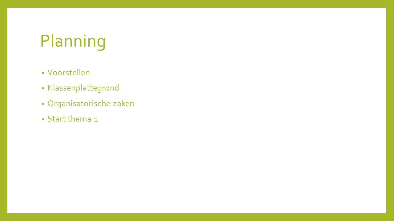Planning Voorstellen Klassenplattegrond Organisatorische zaken Start thema 1