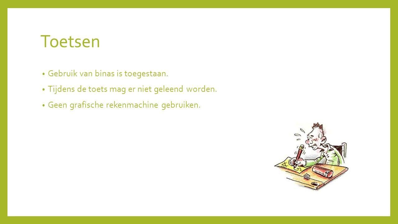 Toetsen Gebruik van binas is toegestaan.Tijdens de toets mag er niet geleend worden.