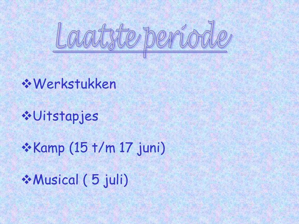  Werkstukken  Uitstapjes  Kamp (15 t/m 17 juni)  Musical ( 5 juli)