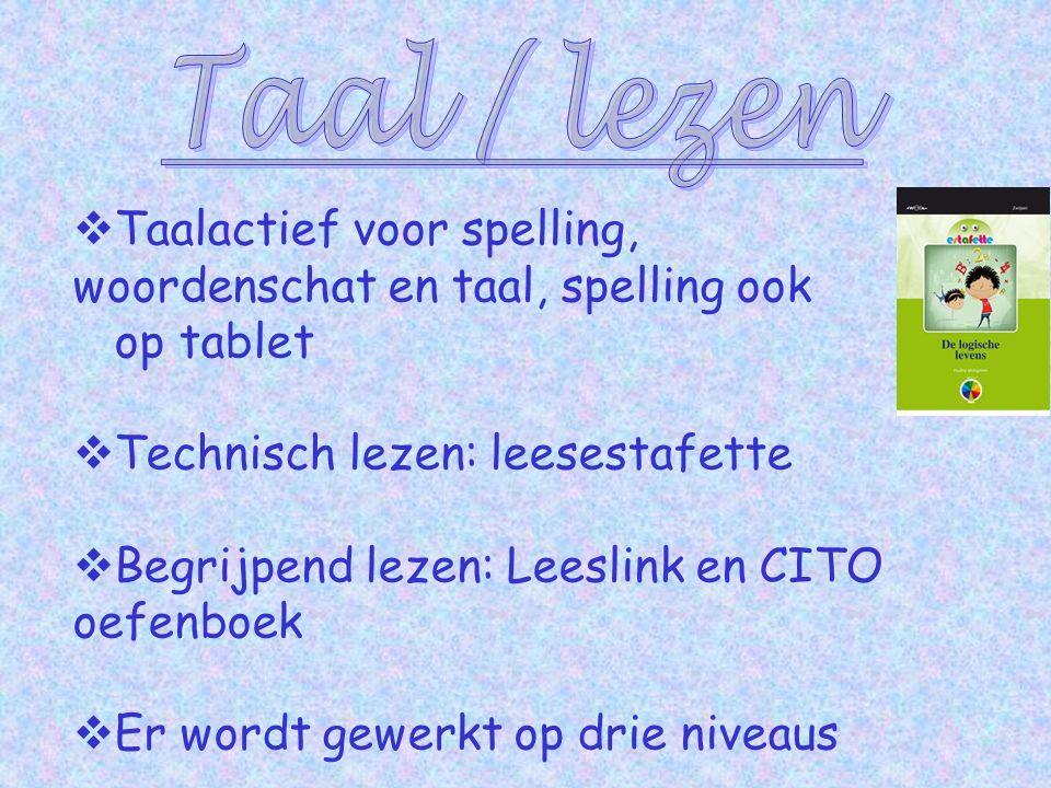  Taalactief voor spelling, woordenschat en taal, spelling ook op tablet  Technisch lezen: leesestafette  Begrijpend lezen: Leeslink en CITO oefenboek  Er wordt gewerkt op drie niveaus