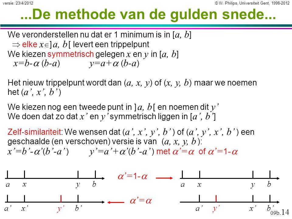 © W. Philips, Universiteit Gent, 1998-2012versie: 23/4/2012 09b. 14 Het nieuw trippelpunt wordt dan ( a, x, y ) of ( x, y, b ) maar we noemen het ( a'