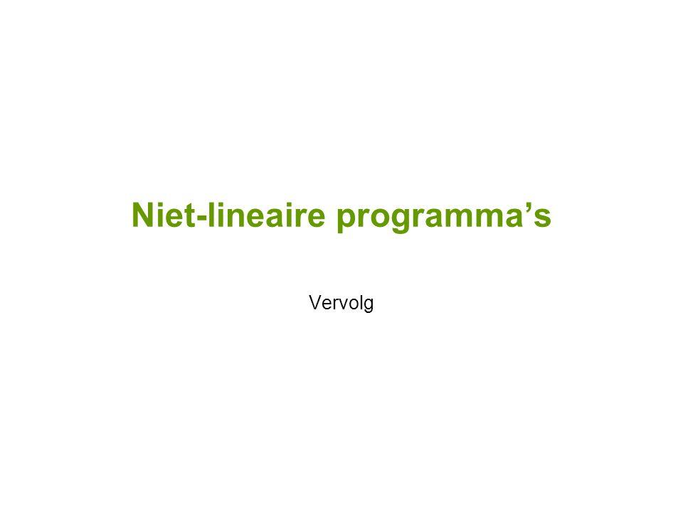 Niet-lineaire programma's Vervolg