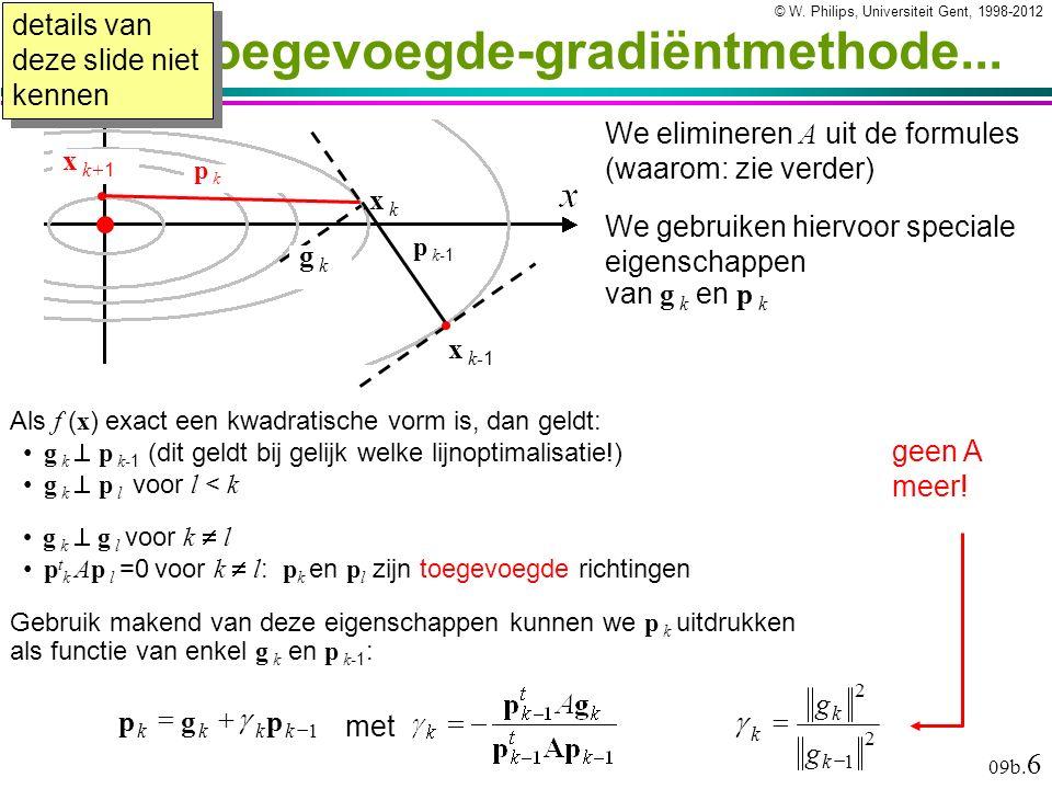 © W. Philips, Universiteit Gent, 1998-2012versie: 23/4/2012 09b. 6...De toegevoegde-gradiëntmethode... Als f ( x ) exact een kwadratische vorm is, dan