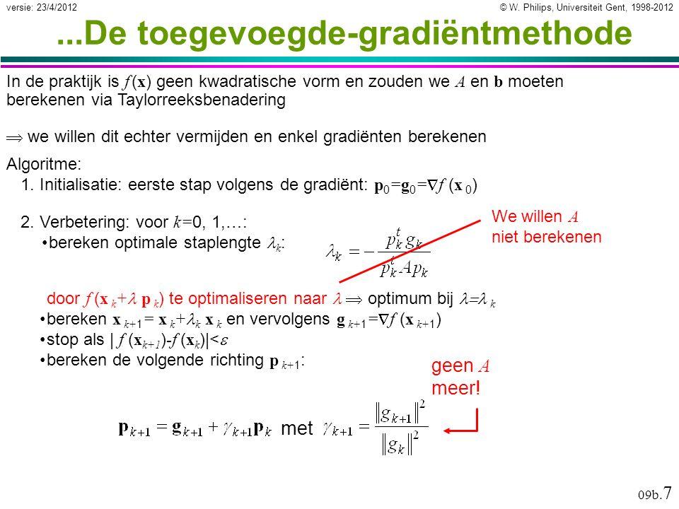 © W. Philips, Universiteit Gent, 1998-2012versie: 23/4/2012 09b. 7...De toegevoegde-gradiëntmethode Algoritme: 1. Initialisatie: eerste stap volgens d