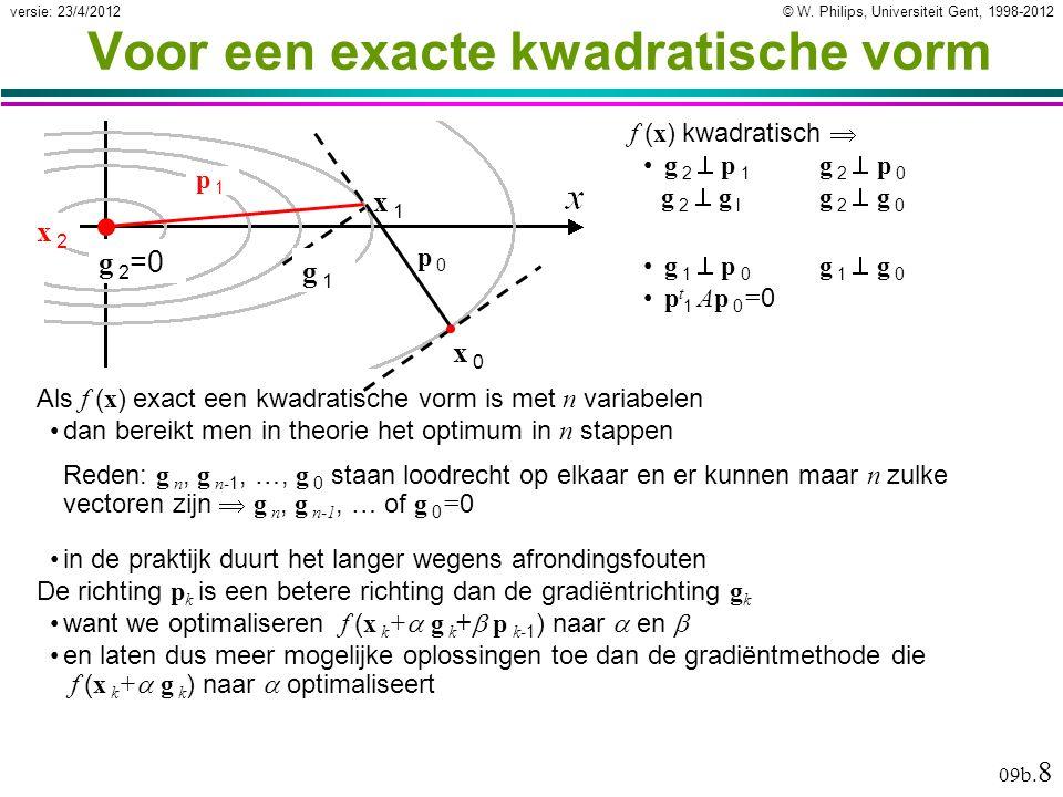 © W. Philips, Universiteit Gent, 1998-2012versie: 23/4/2012 09b. 8 Voor een exacte kwadratische vorm Als f ( x ) exact een kwadratische vorm is met n