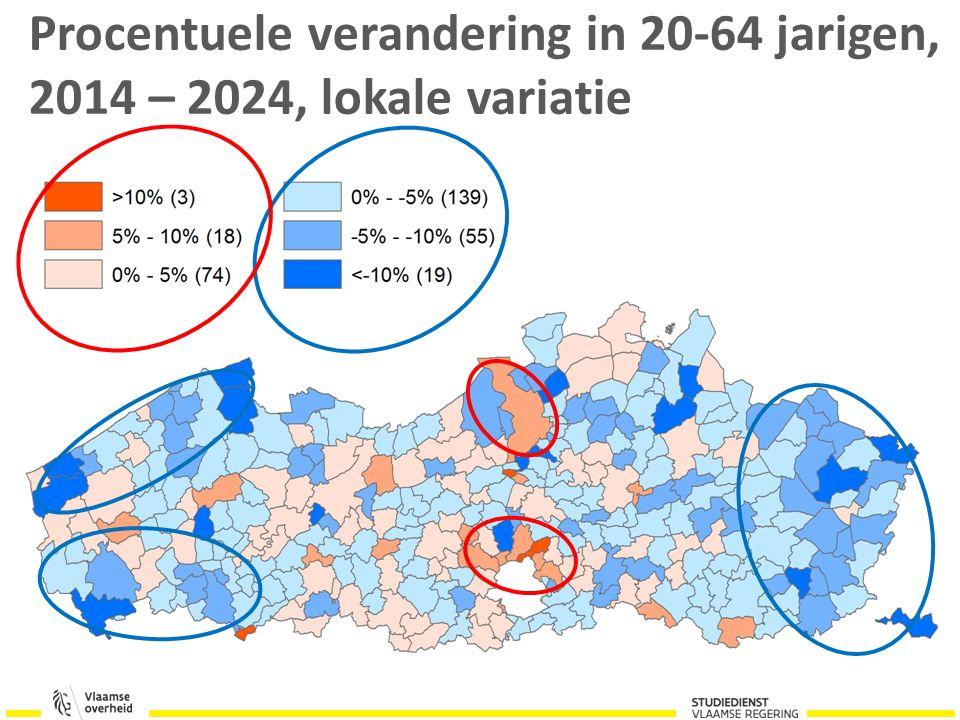 Procentuele verandering in 20-64 jarigen, 2014 – 2024, lokale variatie