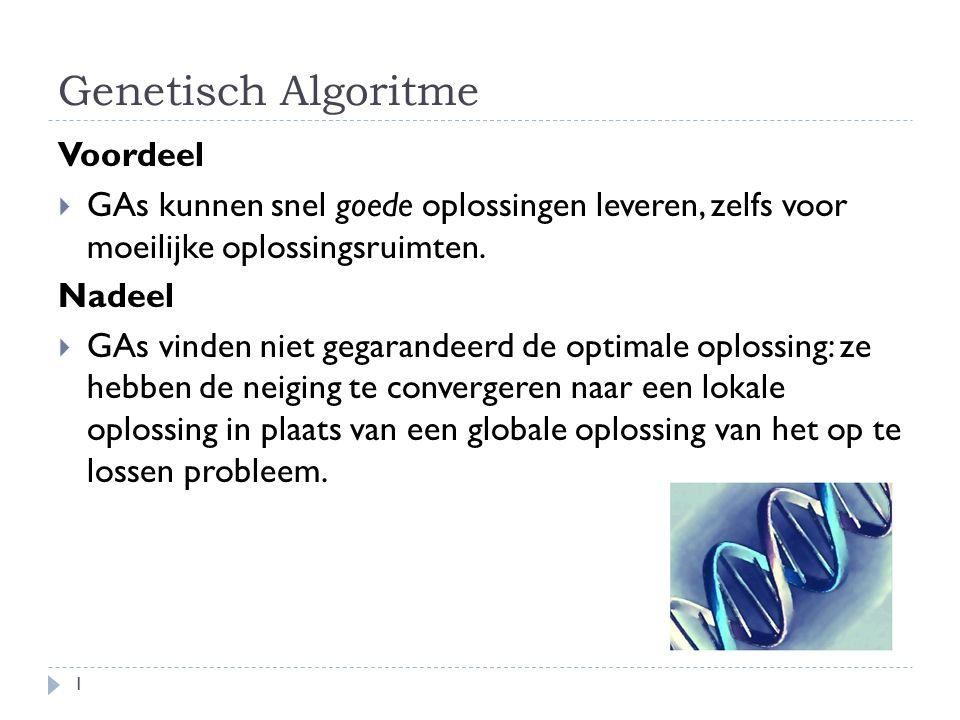 Genetisch Algoritme 1 Voordeel  GAs kunnen snel goede oplossingen leveren, zelfs voor moeilijke oplossingsruimten. Nadeel  GAs vinden niet gegarande