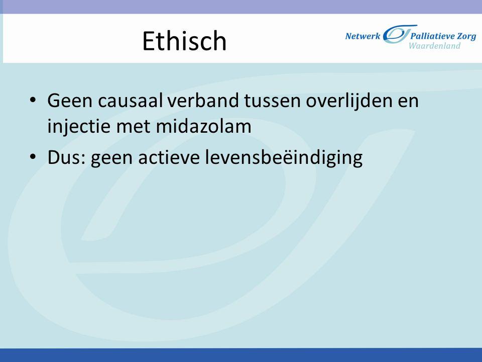 Ethisch Geen causaal verband tussen overlijden en injectie met midazolam Dus: geen actieve levensbeëindiging