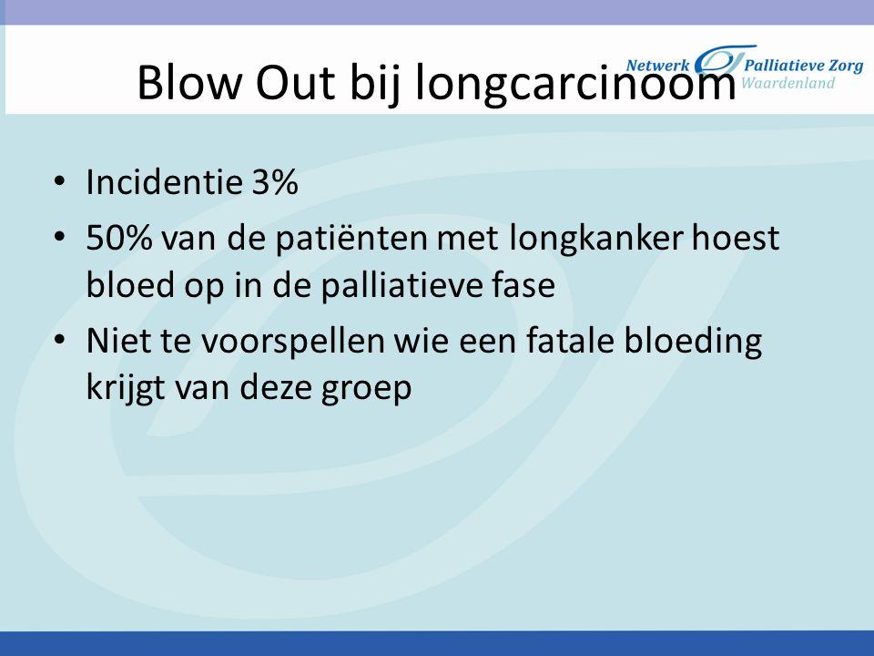 Blow Out bij longcarcinoom Incidentie 3% 50% van de patiënten met longkanker hoest bloed op in de palliatieve fase Niet te voorspellen wie een fatale