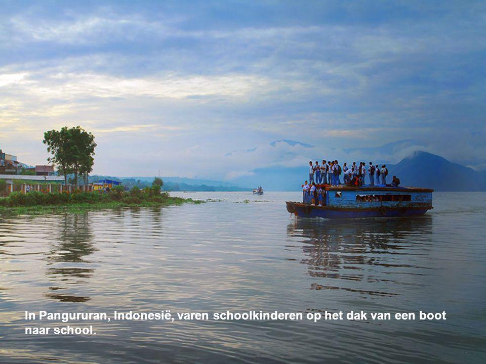 In Pangururan, Indonesië, varen schoolkinderen op het dak van een boot naar school.