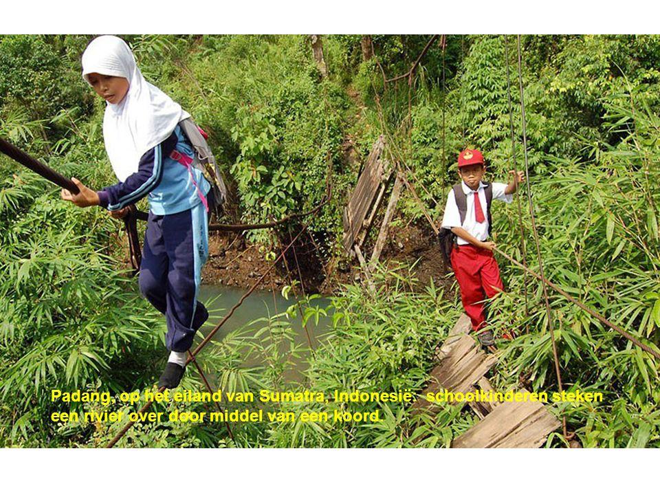 Padang, op het eiland van Sumatra, Indonesië: schoolkinderen steken een rivier over door middel van een koord.