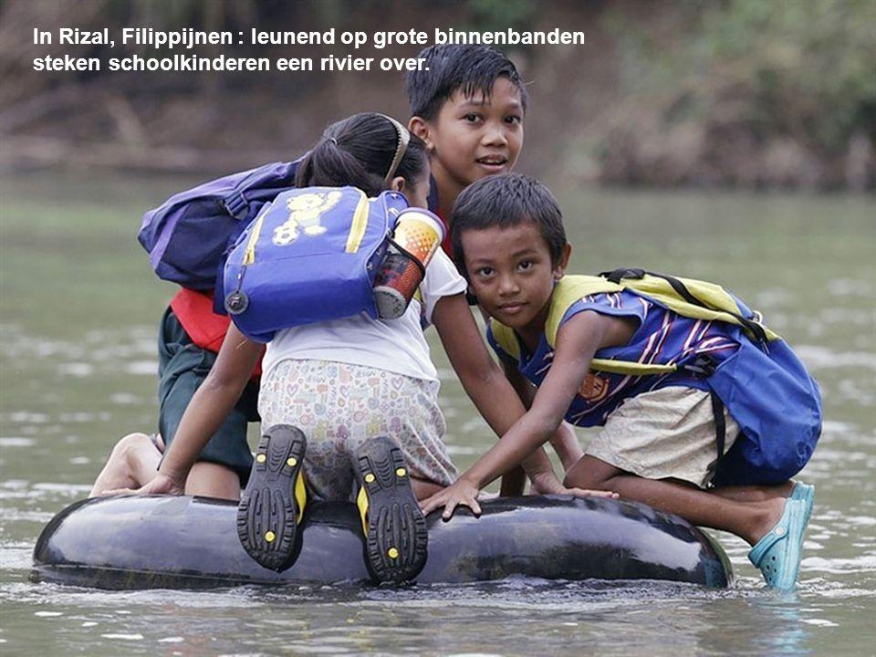 In Rizal, Filippijnen : leunend op grote binnenbanden steken schoolkinderen een rivier over.