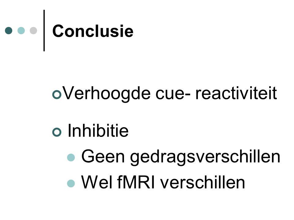 Conclusie Verhoogde cue- reactiviteit Inhibitie Geen gedragsverschillen Wel fMRI verschillen