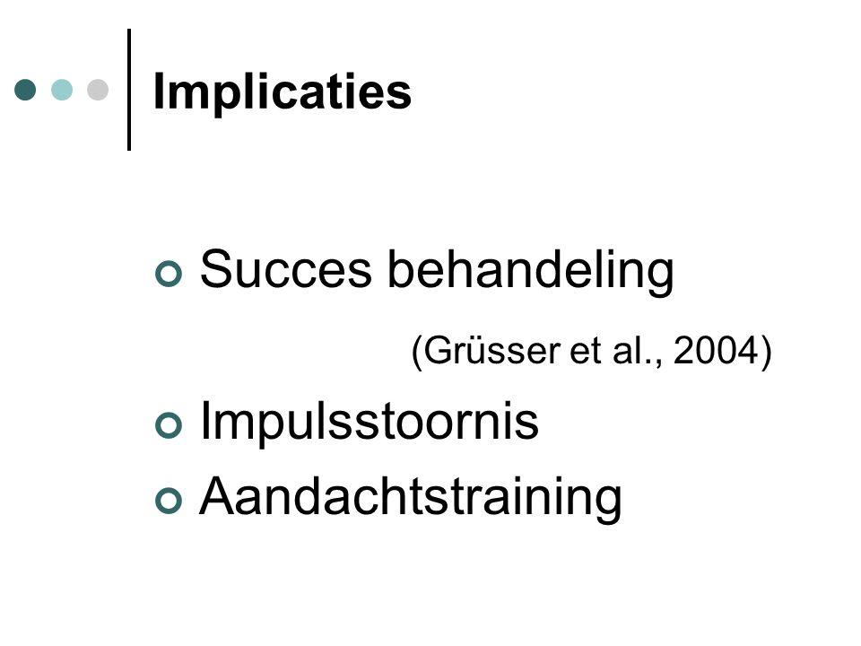 Implicaties Succes behandeling (Grüsser et al., 2004) Impulsstoornis Aandachtstraining