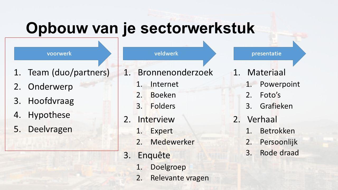 Opbouw van je sectorwerkstuk voorwerkveldwerkpresentatie 1.Team (duo/partners) 2.Onderwerp 3.Hoofdvraag 4.Hypothese 5.Deelvragen 1.Bronnenonderzoek 1.
