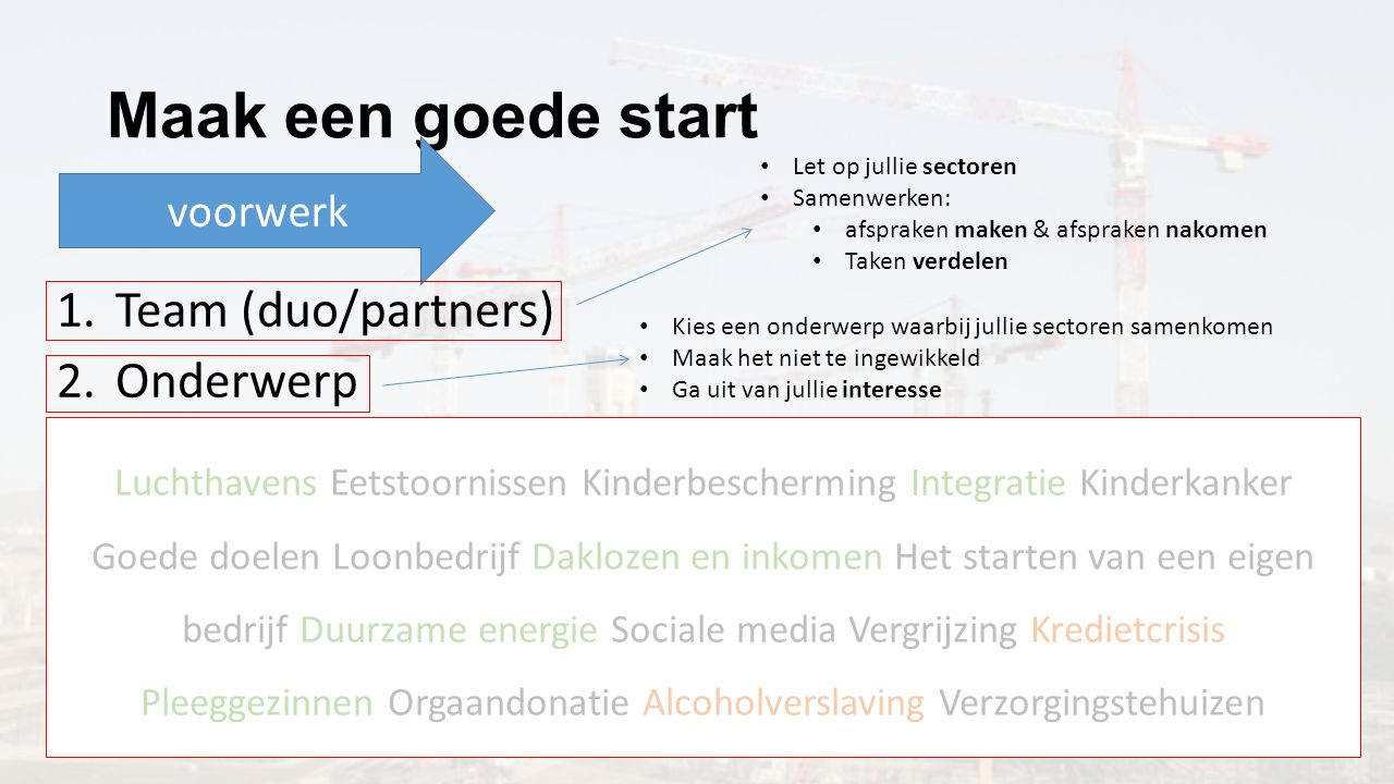 Maak een goede start voorwerk 1.Team (duo/partners) 2.Onderwerp 3.Hoofdvraag 4.Hypothese 5.Deelvragen Let op jullie sectoren Samenwerken: afspraken ma