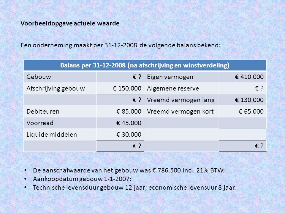 Voorbeeldopgave actuele waarde Een onderneming maakt per 31-12-2008 de volgende balans bekend: Balans per 31-12-2008 (na afschrijving en winstverdelin
