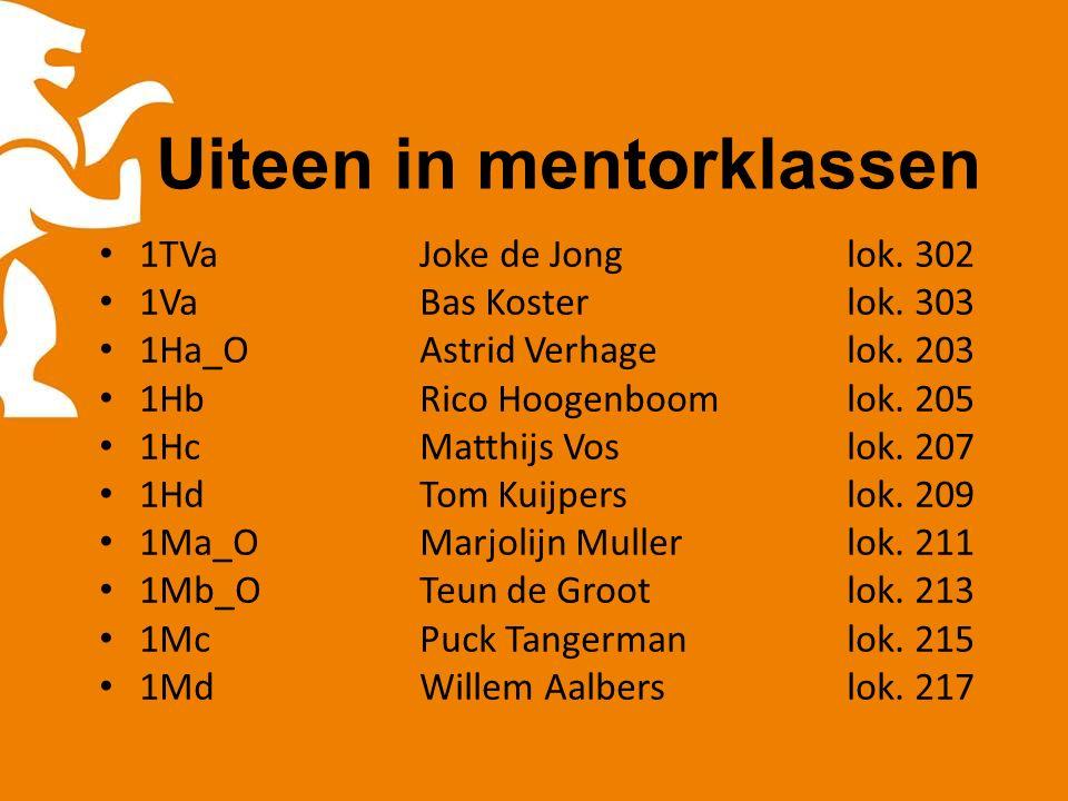Uiteen in mentorklassen 1TVaJoke de Jonglok. 302 1VaBas Kosterlok.