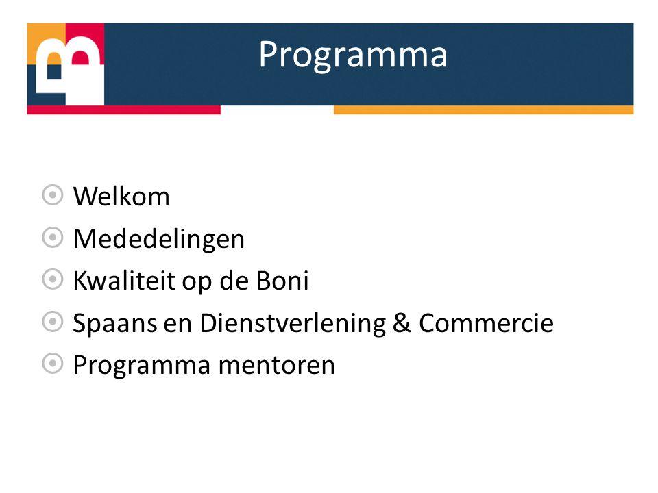 Programma  Welkom  Mededelingen  Kwaliteit op de Boni  Spaans en Dienstverlening & Commercie  Programma mentoren
